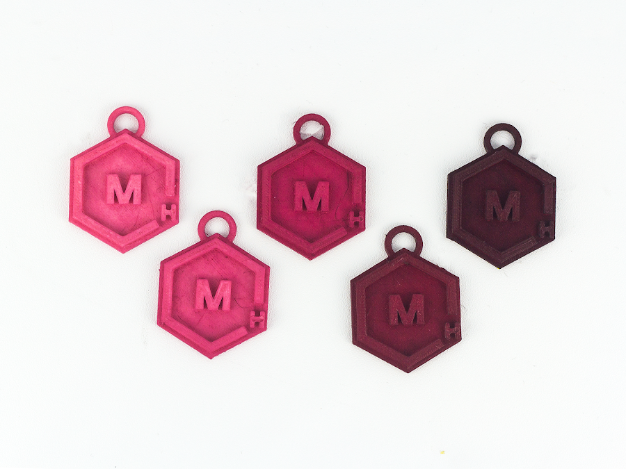 These test print, as an example, were left in for varying amounts of time to see what amount of time works best to dye my nylon the color I want. From left to right: 30 sec, 1min, 2min, 5min, and 10min.