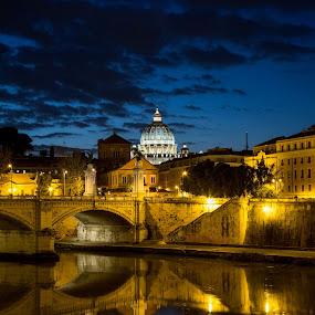 Saint Peter at blue hour by Sergio Savi - Buildings & Architecture Public & Historical ( rome, blue hour, san pietro, tevere, saint peter, tiber )