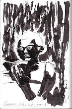 Photo: 夜讀2011.1128鋼筆 就寢後的牢房裡只有一盞小燈,主要目的是為了給值班的獄卒看房裡的動態,這亮度對犯人看書來說其實很勉強,而且規定就寢後不能坐著,只能躺著看,不僅傷人眼力,也傷頸椎腰椎。