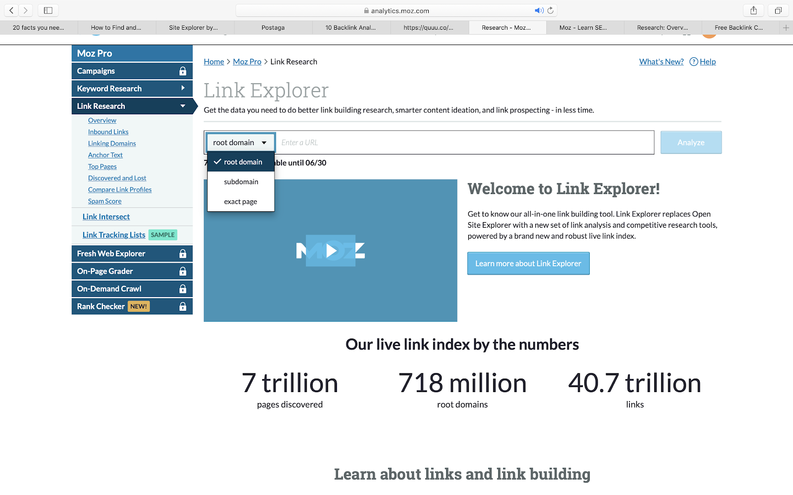 This image shows Moz's backlink explorer where a user can enter a URL of a website.