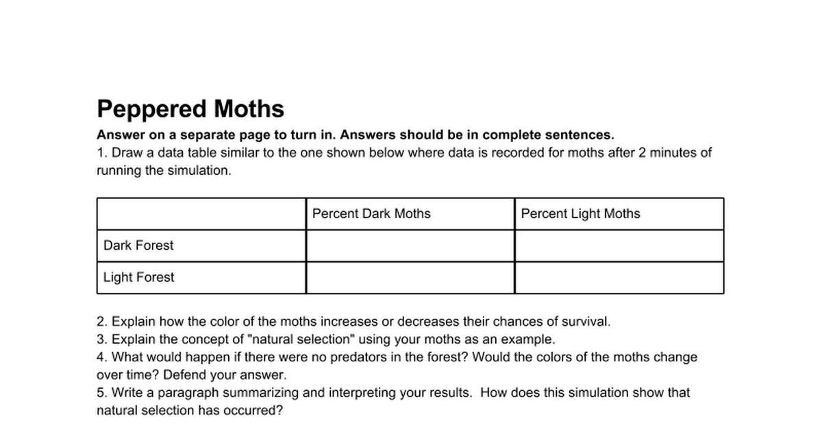 Peppered Moths Worksheet Google Docs – Peppered Moth Worksheet