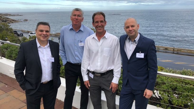 L to R, CT launch: Manouel Mourant Samper (Channel Acc Man., Infor), Mark Bannerman (MD, EOH IS), Adriaan Rossouw (EOH IS, Sales Dir), Wolfgang Emperger (Hospitality VP, Infor).