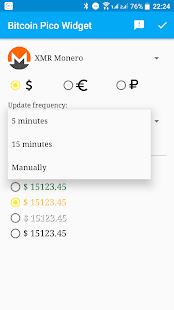 Bitcoin Pico Widget - náhled