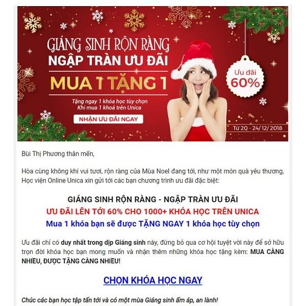 Mẫu email marketing của ngành giáo dục