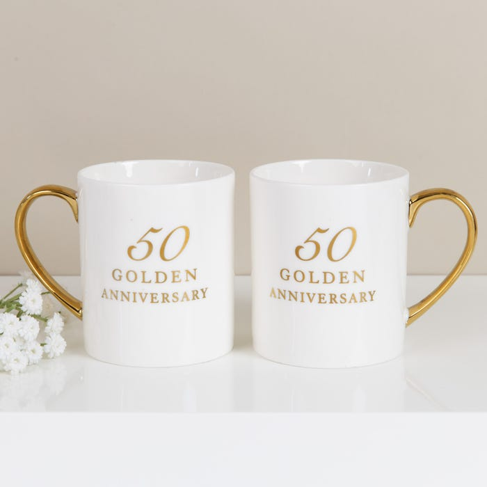 Best Wedding Anniversary Gifts; Clintons' 50th Anniversary Set of Two China Mugs