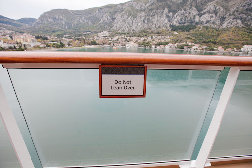 "Cruise-ship-safety.jpg - ""Do not lean over"": Good advice aboard Viking Star."
