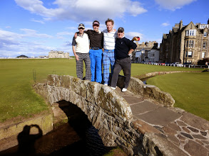 Photo: The boys on the famous bridge with the Club House in the distant left!