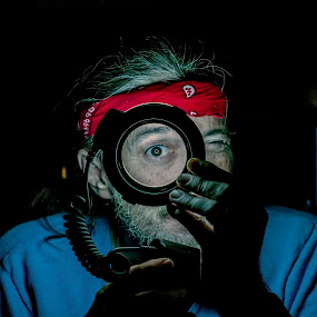 Eye Can See You by Frank Matlock II - People Portraits of Men ( different, cool, mad scientist, ring light, genius, neat, funny, low light, man )