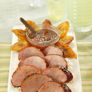 Chili Rubbed Pork Tenderloin With Apricot Ginger Glaze.