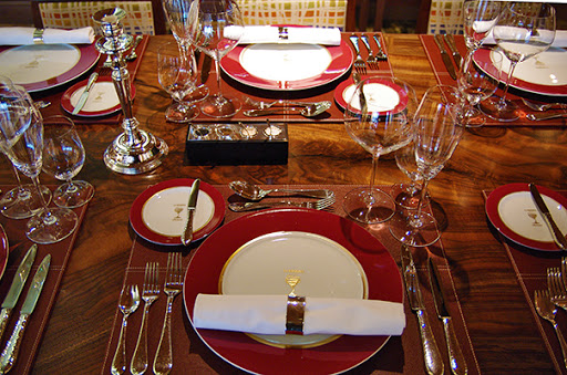 A table setting at La Reserve aboard the Marina.