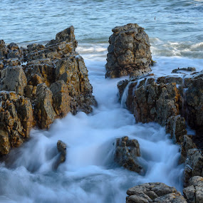 Mini Tsunami by Arend Van der Walt - Landscapes Beaches ( water, rush, wave, sea, tsunami, rocks )