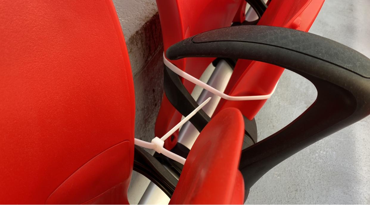 Unused seats are zip-tied closed.