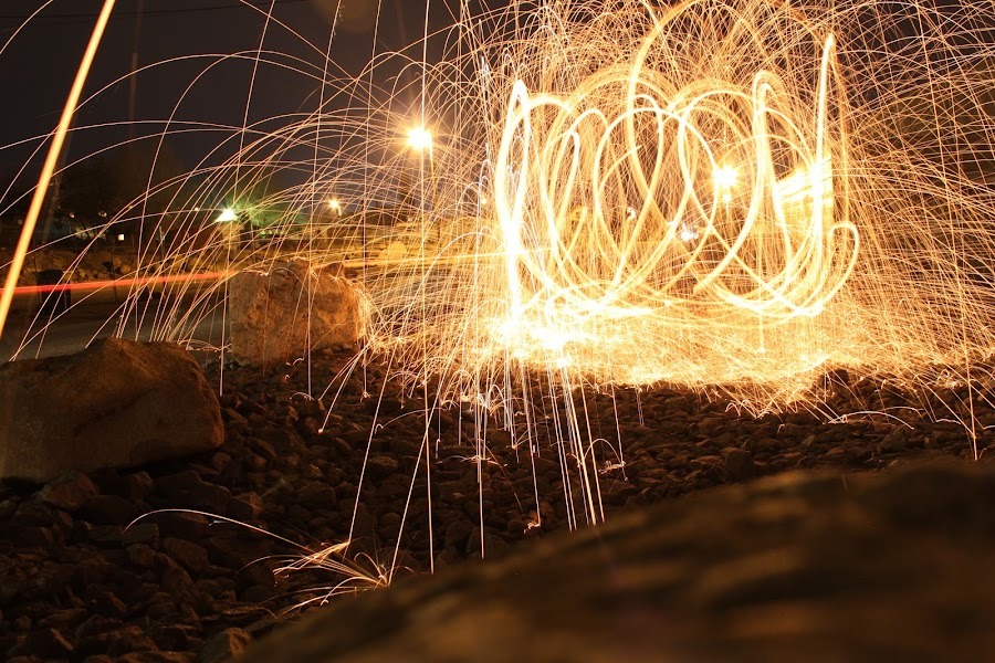 Sparkin it up. by Jorge Sanchez - Abstract Light Painting ( abstract, lightpainting, long exposure, steel, light, wool )