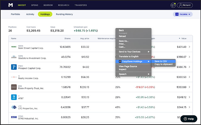 Copy/Save M1 holdings