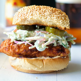 Fried Chicken Sandwich with Jalapeno Coleslaw and Spicy Mayo.