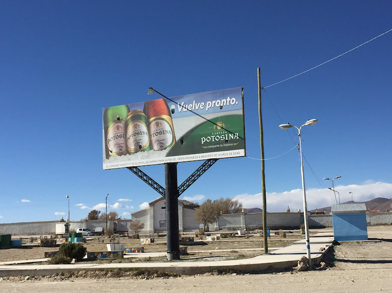 ボリビアのPOTOSINAというビールの広告塔