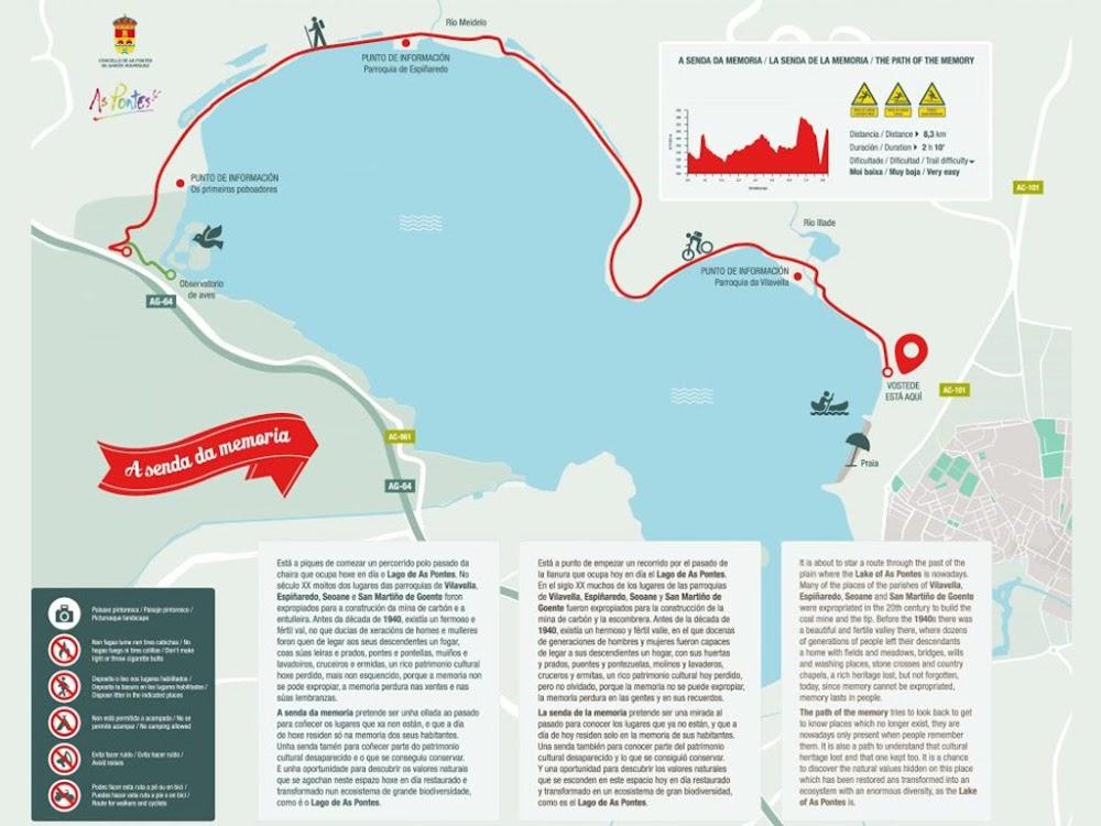 Mapa de la Ruta da Memoria Lago de As Pontes