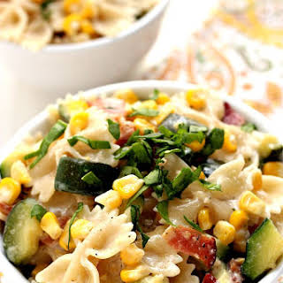 Sweet Corn and Zucchini Pasta with Bacon (15-Minute Dinner).