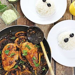 Honey-Lemon Chicken with Wasabi-Avocado Cream Sauce & Vanilla Infused Rice.