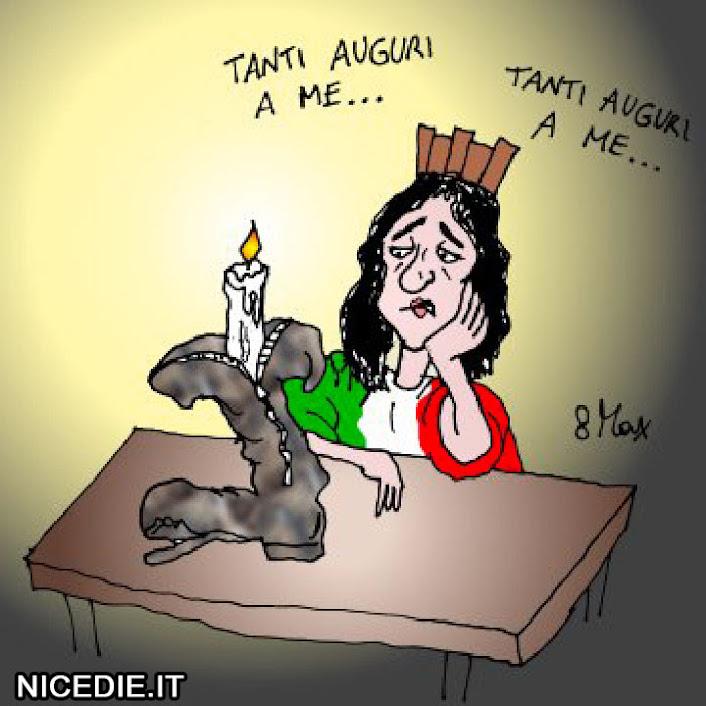 una tristissima donna (che rappresenta la repubblica) davanti ad una torta a forma di stivale, sconsolata si canta da sola: tanti auguri a me...