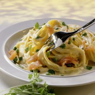Salmon and Pea Spaghetti.