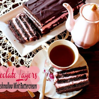 Deep Chocolate Layer Cake with Marshmallow Mint Buttercream