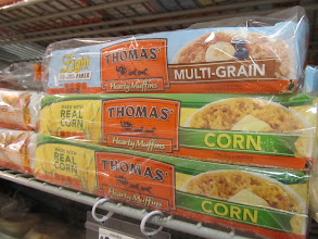 Photo: IMMEDIATELY I was attracted to the Thomas' Corn Hearty Muffins, because they make a Corn loaf bread that I love.  Unfortunately, it is NOT available in Florida and my mom has to send it to me from Maryland.  I wonder if it tastes similar?