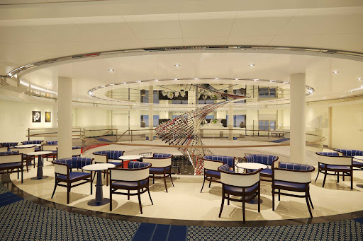 The Atrium is a light breezy spot to relax on board Holland America's Rotterdam.