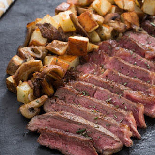 Ribeye Steak for Two with Mushroom & Potato Hash.