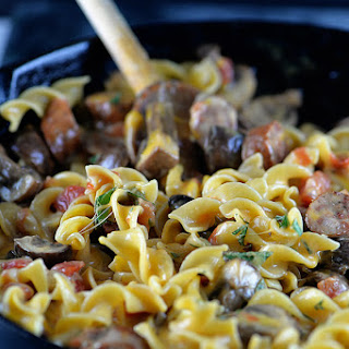 Cheesy Sausage and Mushroom Pasta Skillet.