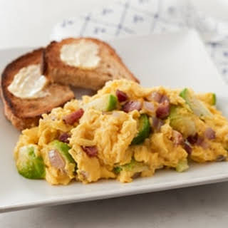 Fluffy Scrambled Eggs with Brussels Sprouts & Swiss Cheese.