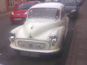 Photo: Without the split windscreen, come together wipers and stalk indicators, this is an early 60's Morris 1 litre. The distinctive exhaust blap one of those distant childhood memories.