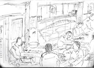 Photo: 工場即景2011.02.22鋼筆 收容人做來做去就是簡單的手工,一個月工資才三百…能不讓他們閒著就是好事…