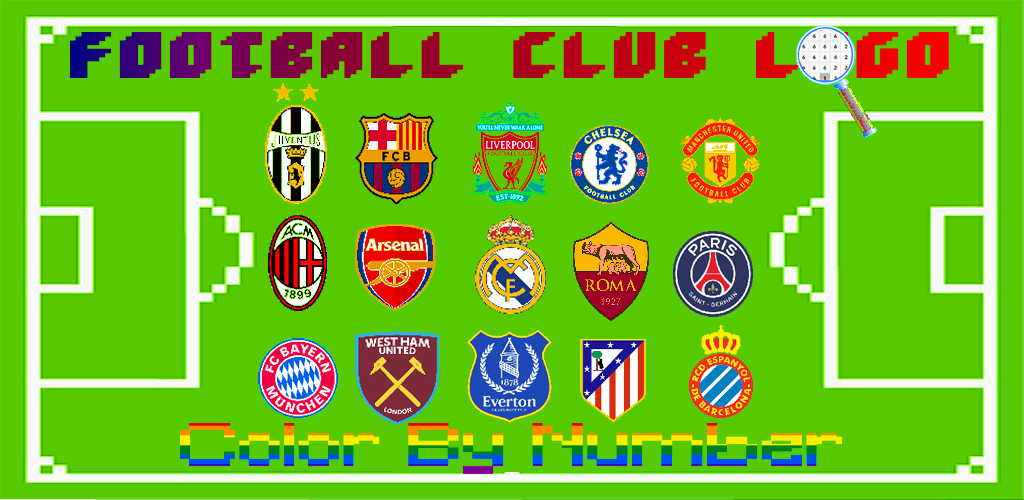 Download Football Logo Coloring Color By Number Pixel Art