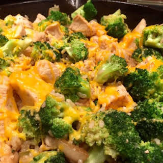 Chicken Broccoli Rice Skillet with Cheddar Cheese.