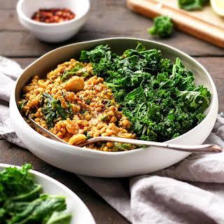 Cashew Buckwheat Curry with Garlic Kale.