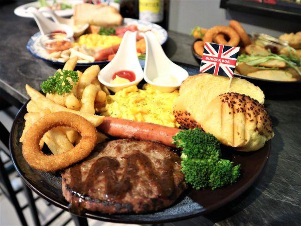 Burger Bus 漢堡巴士。旱溪夜市英倫風早午餐,漢堡排、拼盤推薦
