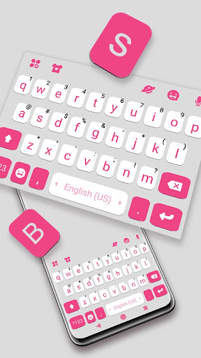 Pink White Chat Keyboard Theme ss2