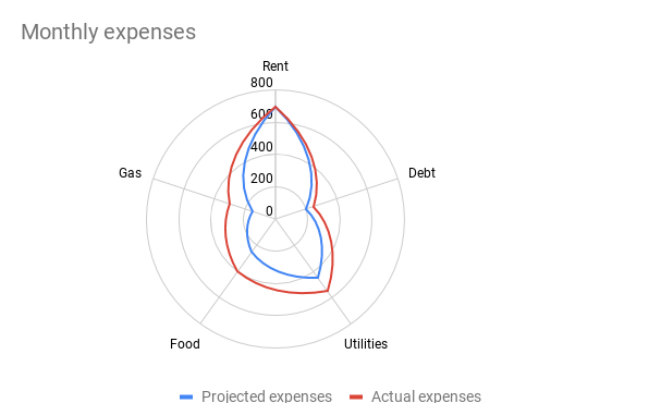 Radar chart showing monthly expenses