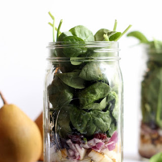 Quinoa, Pear and Spinach Salad in a Jar