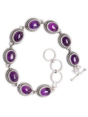 Ametist armband med silverlänkar