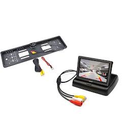 Suport numar inmatriculare cu camera marsarier + Display pliabil LCD TFT 4.3