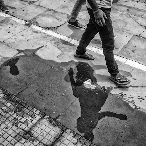 MONSOON WALK by Sourav Makal - Uncategorized All Uncategorized ( #northbengal #reflection #railstation #shadow #blackandwhite #street #monsoon,  )