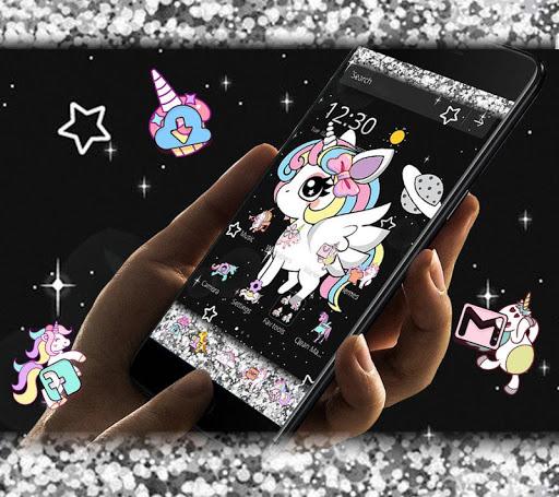 Glitter Galaxy Cute Rainbow Unicorn Theme 1.1.1 screenshots 5