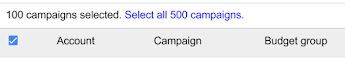 Partial image of campaigns table with only the table header that shows a selected check box, and the Account, Campaign, and Budget groups columns. Above the header is text that says 100 campaigns selected. Select all 500 campaigns. Select all 500 campaigns is blue and appears to be clicakable.