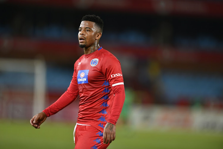 George Lebese formerly of SuperSport United during the Absa Premiership match between Mamelodi Sundowns and SuperSport United at Loftus Versfeld Stadium on April 17, 2019 in Pretoria, South Africa.