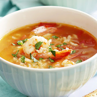 Spanish Shrimp and Rice Soup.