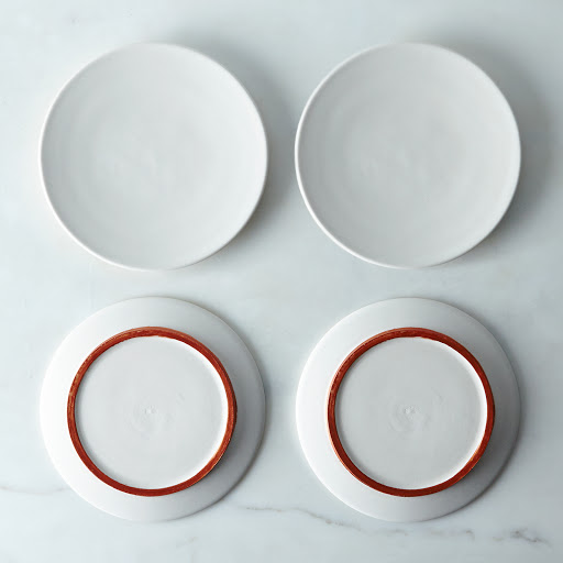 White and Copper Ceramic Plates (Set of 4)