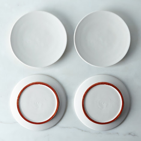 White and Copper Ceramic Plates (Set of 4)