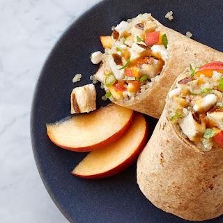 Grilled Peach Chicken & Basil Wraps.